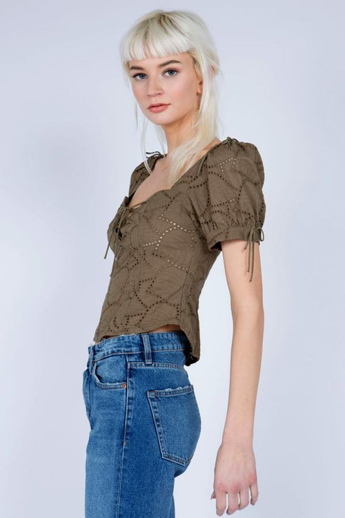 olive crop top for women