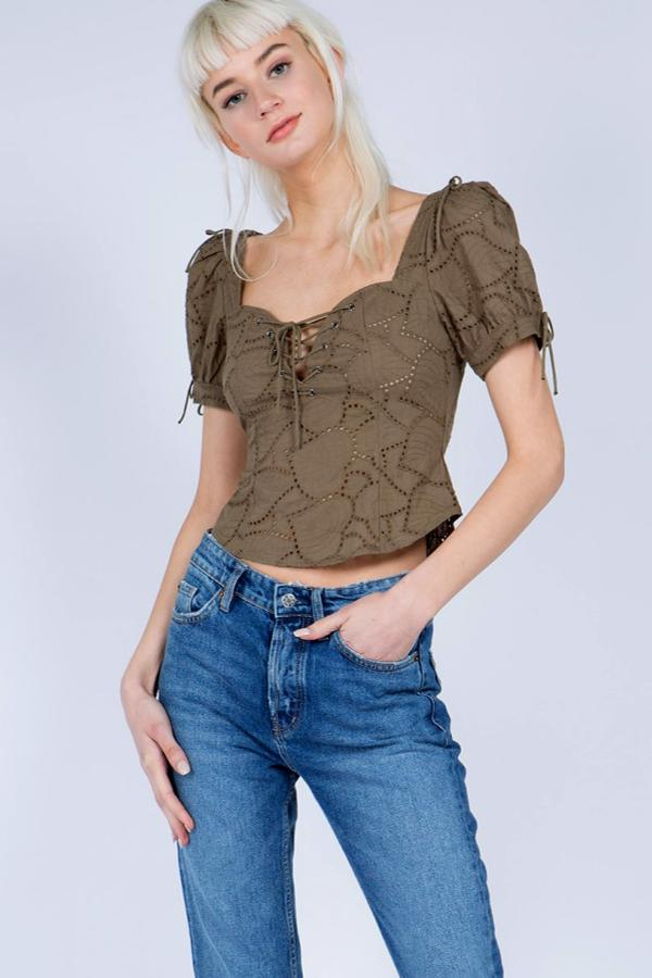 Puff SleeveTop - Olive