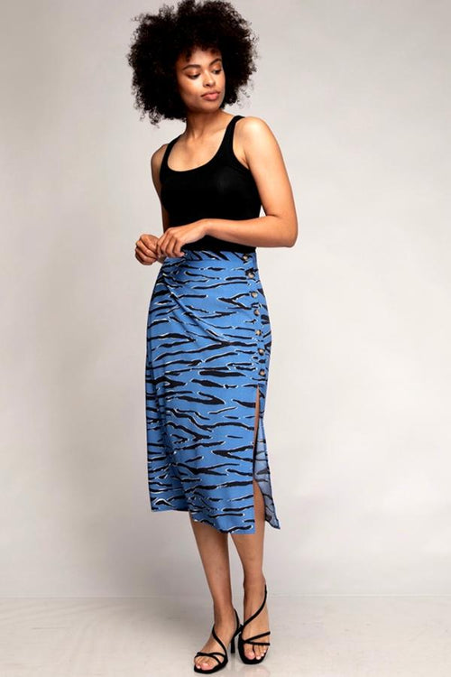 blue zebra midi skirt