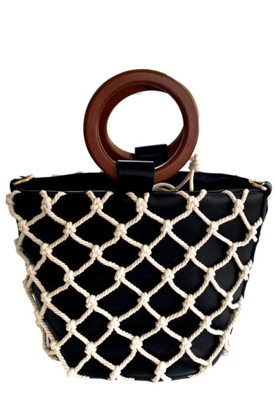 black bag with net overlay
