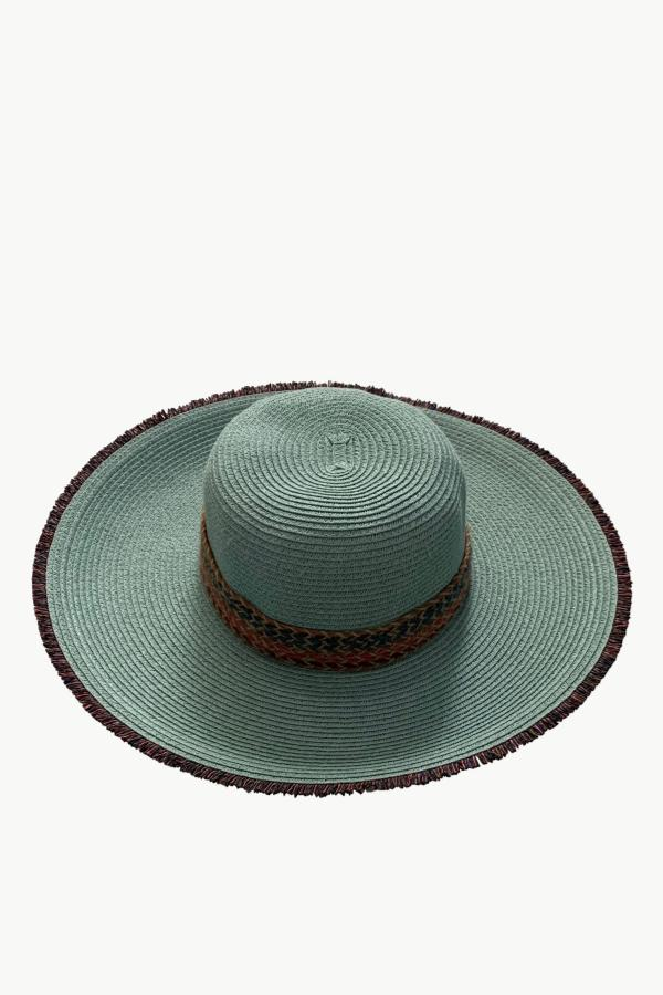 Raffia Trim Straw Floppy Hat - Mint