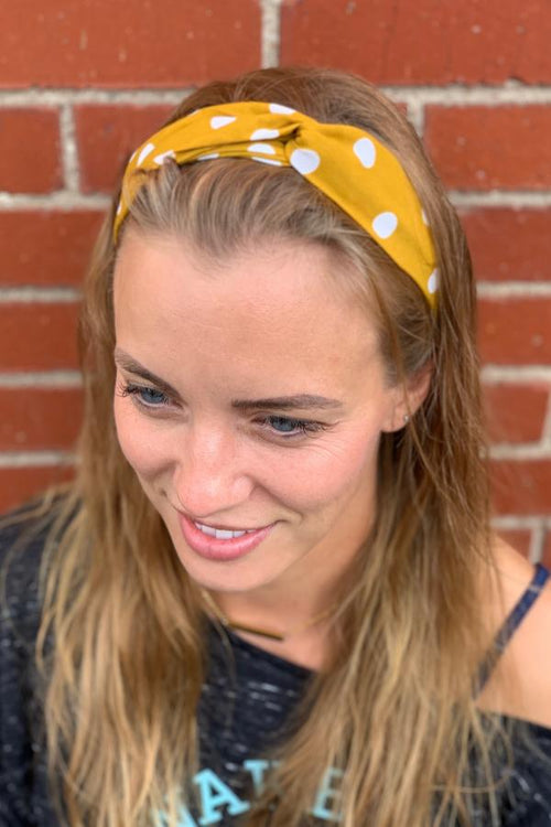 Knotted Polka Dot Headwrap - Mustard