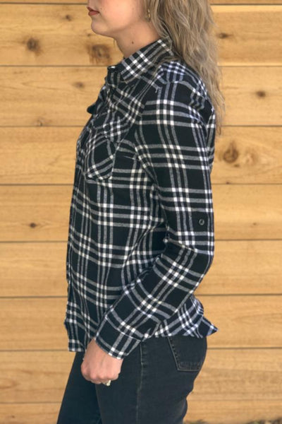 womens plaid shirt with breast pocket