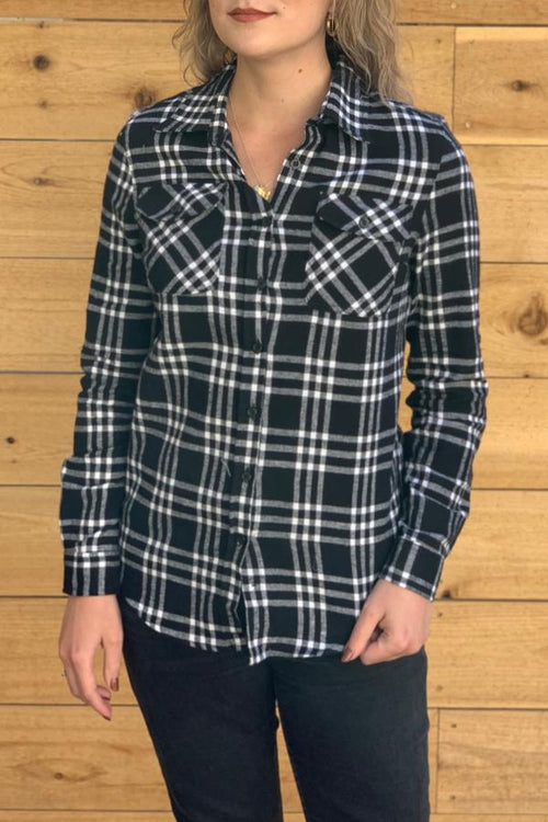 black and white womens plaid shirt
