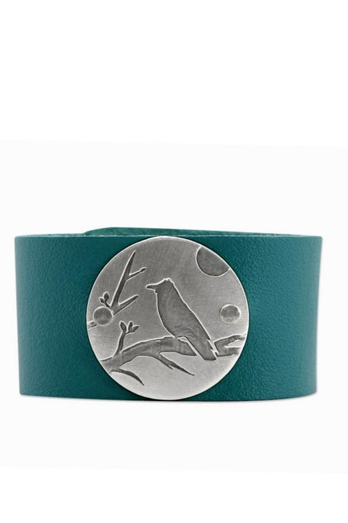 Raven Leather Cuff Bracelet - Brushed Silver