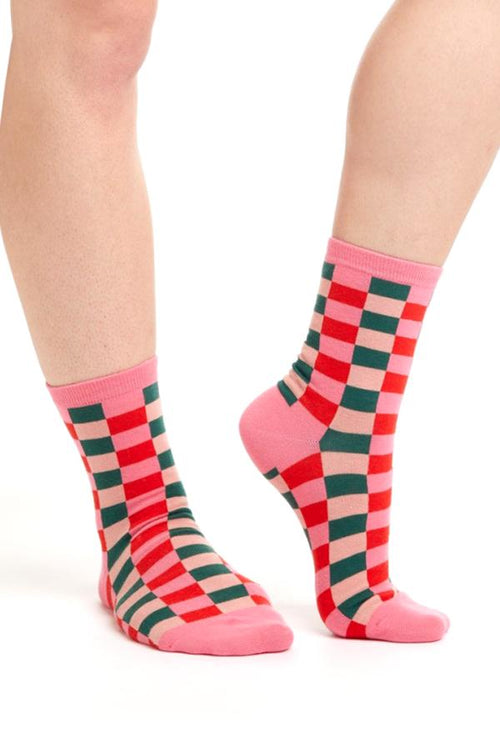 fun cute checkered womens ankle socks