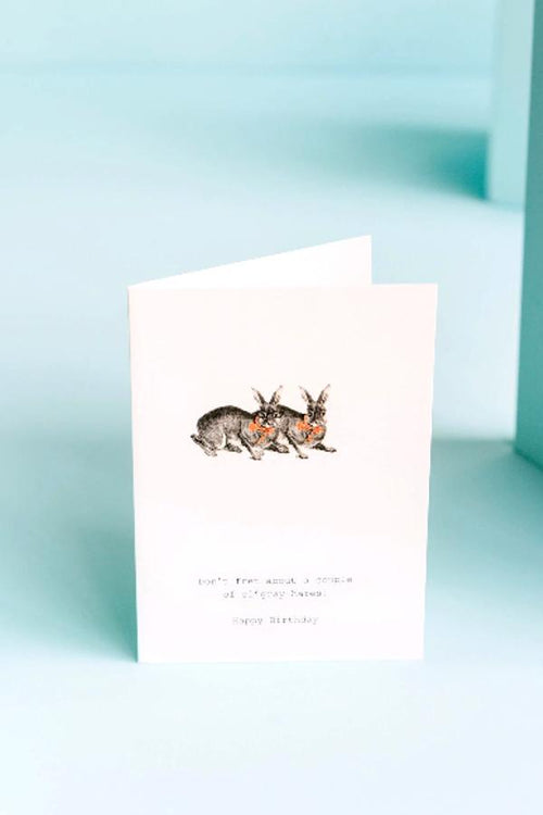 Don't Fret Grey Hares Greeting Card