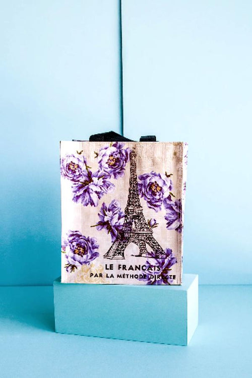 eiffel tower and purple flowers market tote
