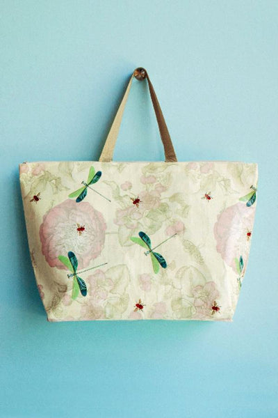Tokyo milk shopping tote with dragon flies