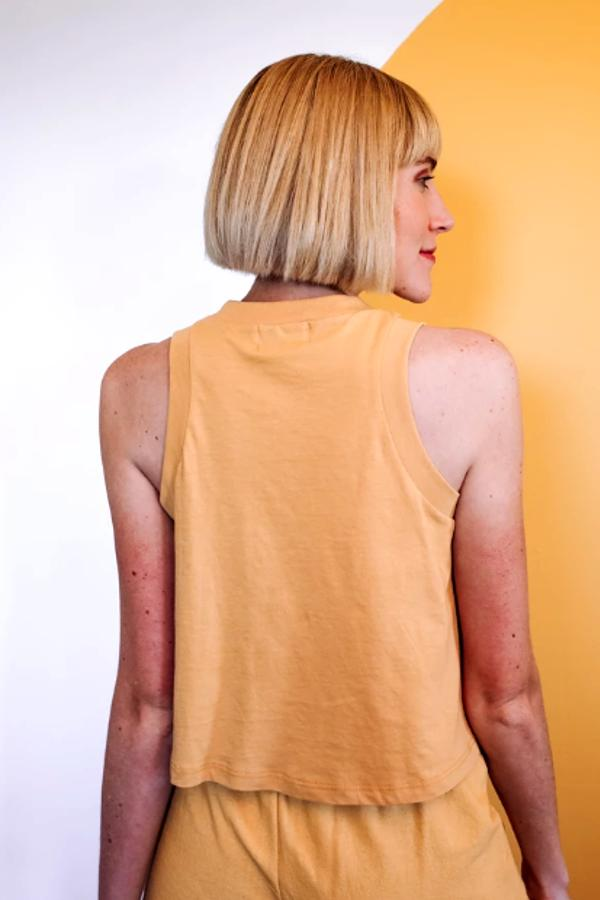 yellow graphic tank top for women