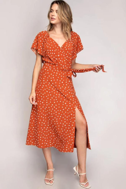 naked zebra orange polka midi dress