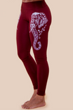 red women's leggings with white printed elephant