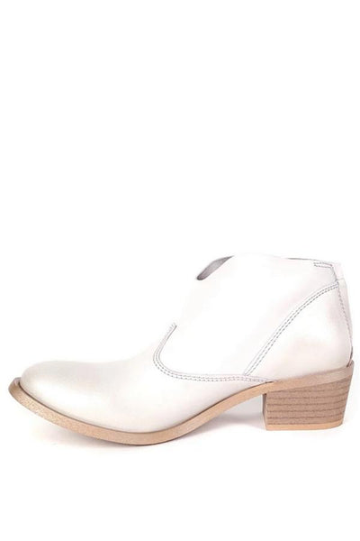 white leather bootie with stitching detail