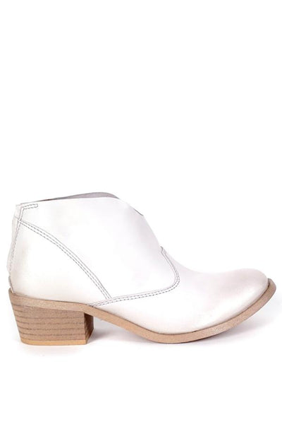 white leather ankle bootie