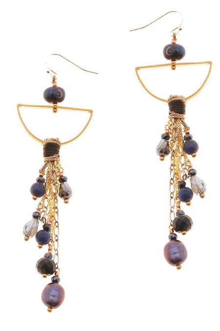 Gemstone Tassel Earrings - Gold/Grey