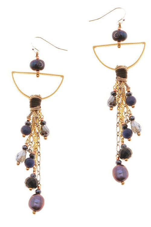 gold tassel earrings with pearls