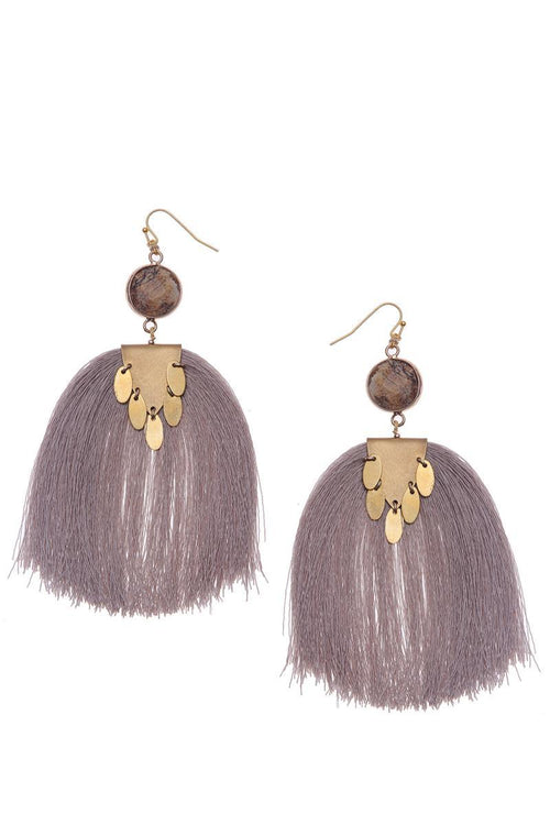 gold and nude tassel earrings