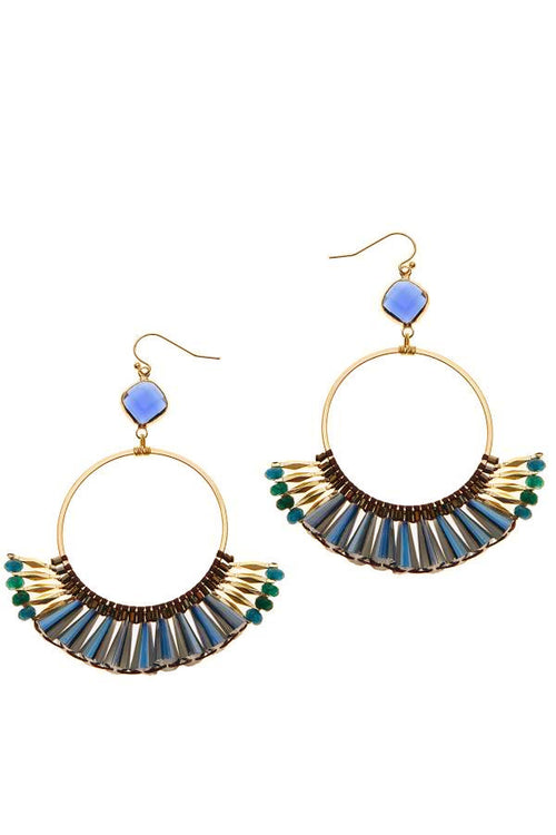 gold hoops with green and blue gemstone beads