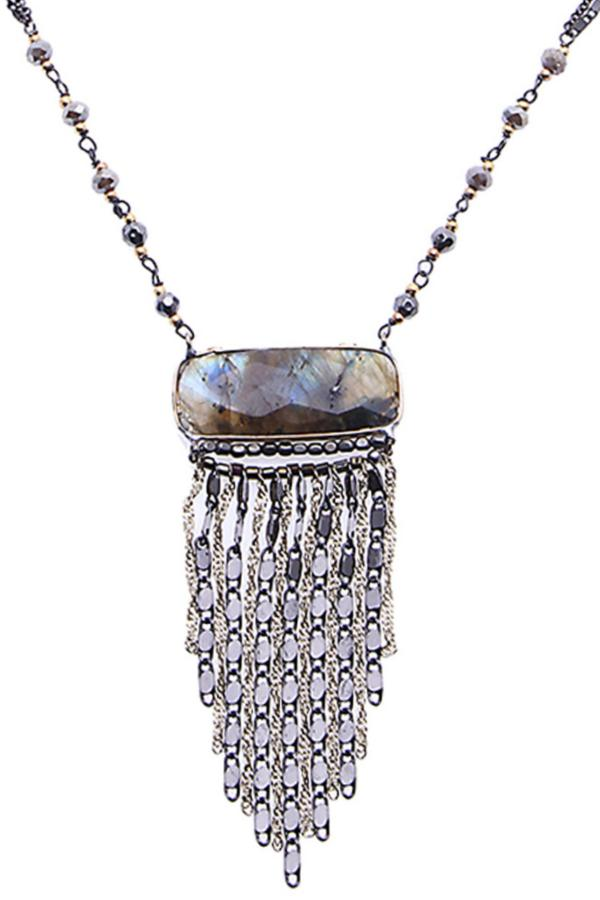 chain fringe pendant necklace