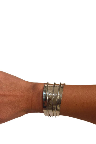 Solid Silver Tube Wide Cuff