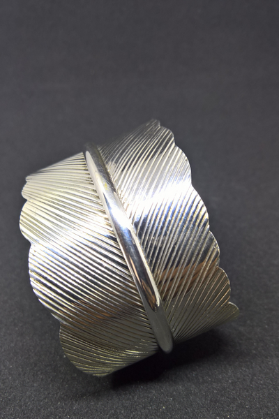 Solid Silver Feather Wide Cuff