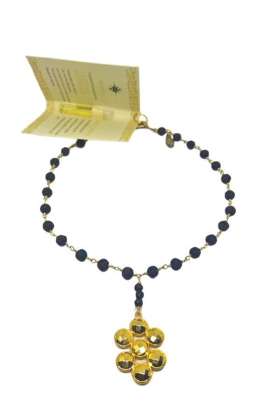lava stone necklace with gold pendant