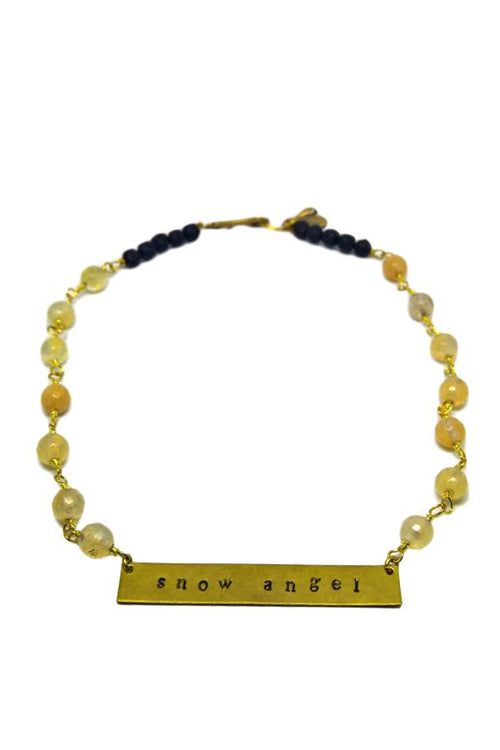 Snow Angel Bar Necklace with Lava Beads