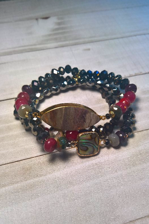black and red gemstone stretch bracelet with agate