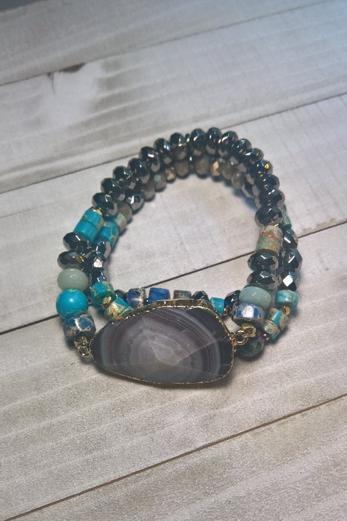 TURQUOISE STRETCH BRACELET WITH AMETHYST