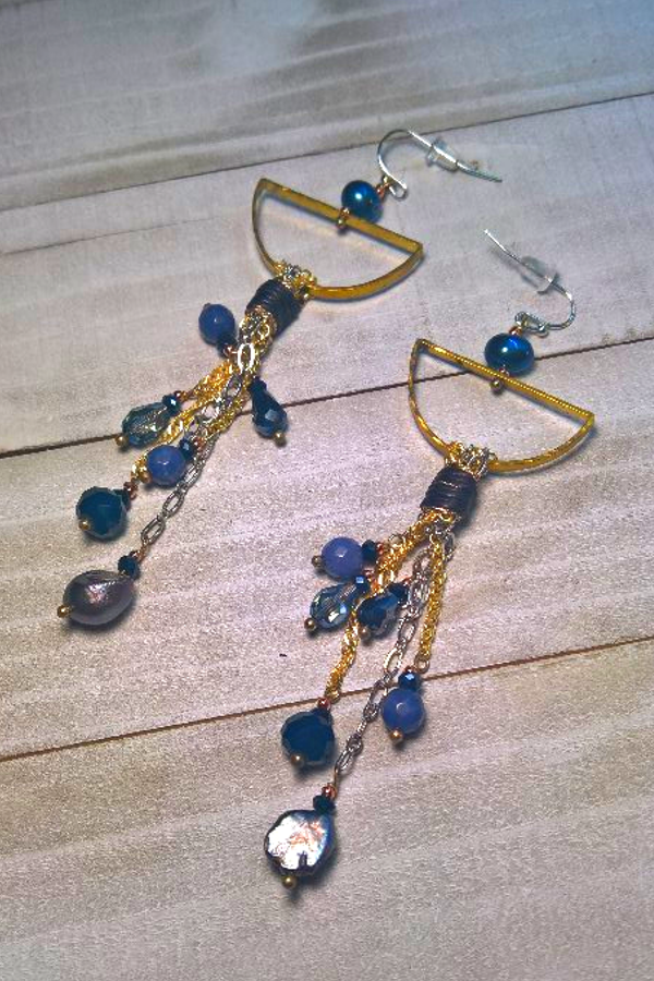 long earrlings with gold chain tassels and real pearls