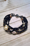black stretch 3 tier bracelet with white real pearls