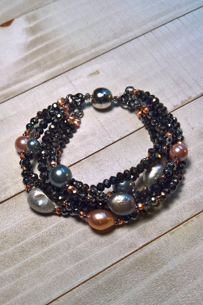 black spinel multi tier bracelet with real pearls