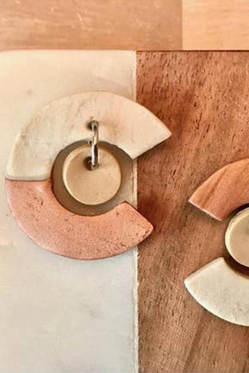 natural womens earrings beige and white