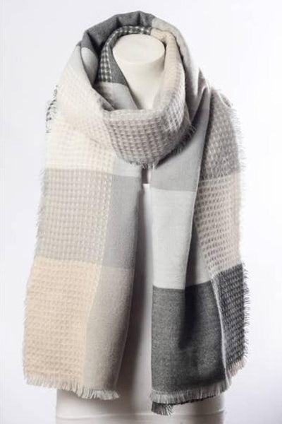 Plaid Waffle Knit Blanket Scarf - Blush Grey