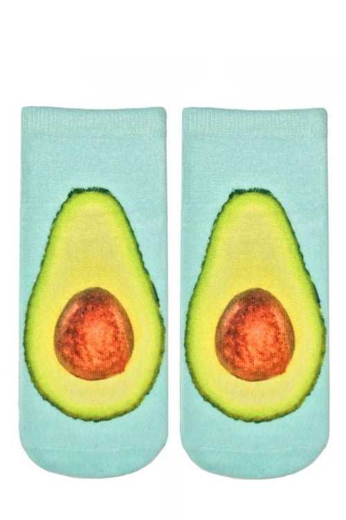 blue fun cute ankle socks with avocado print
