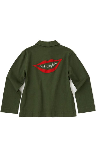 green women's jacket with embroidery