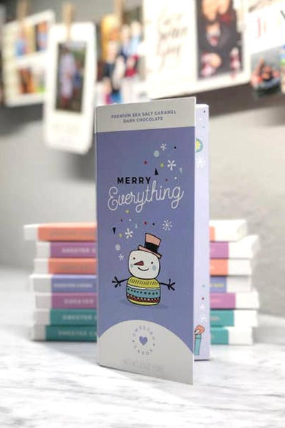 holiday gift cards and chocolate bars in one