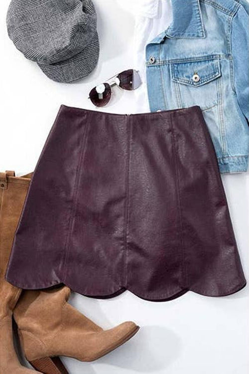 burgundy faux leather mini skirt for teenage girls