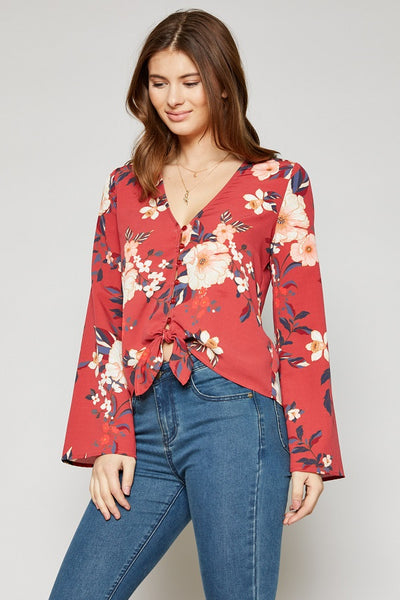 women's red floral top