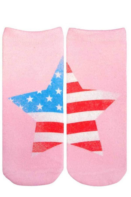 american flag funny pink ankle socks