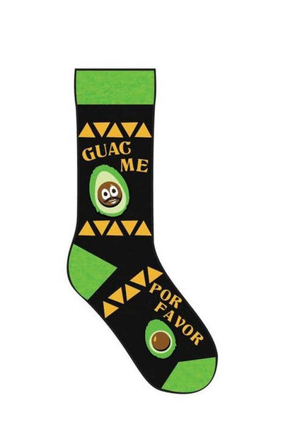 fun socks for men and women guacamole design