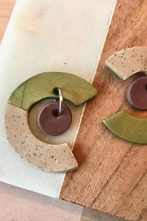 green and beige half moon earrings