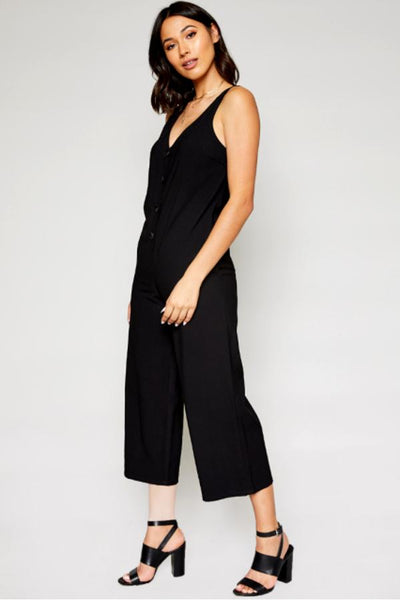 Jeanette Twill Black Jumpsuit