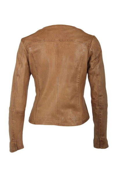 back of beige leather jacket