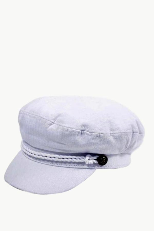 white cabbie hat