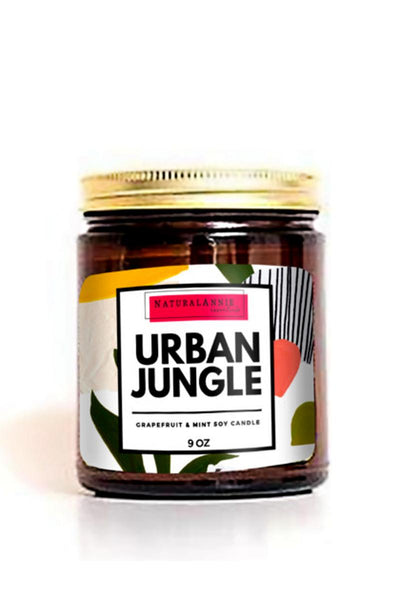 natural soy candle saying urban jungle