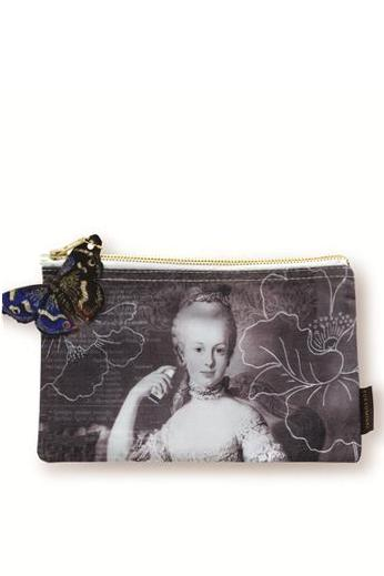 black and white marie antoinette cosmetic bag