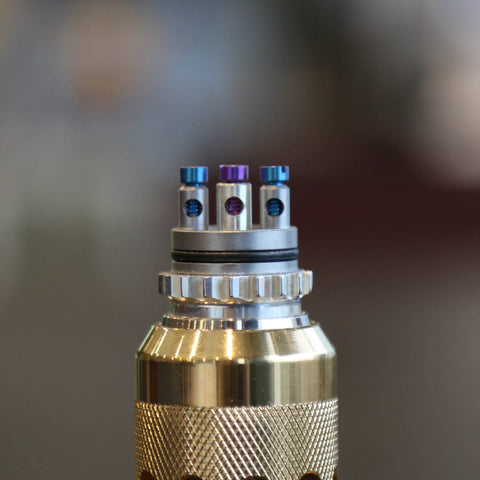 AV Rhodium Plated Able with Gold Dipped defendABLE Sleeve, Knurled Comp Lyfe Cap and Drip Tip, and Silver Post Battle Deck
