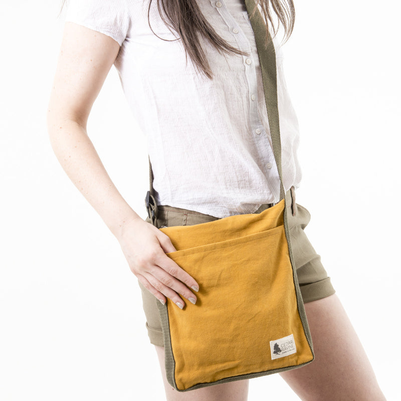 canvas adventure crossbody bag canvas bag made in california by cedar ravine travel accessory hiking bag outdoor purse