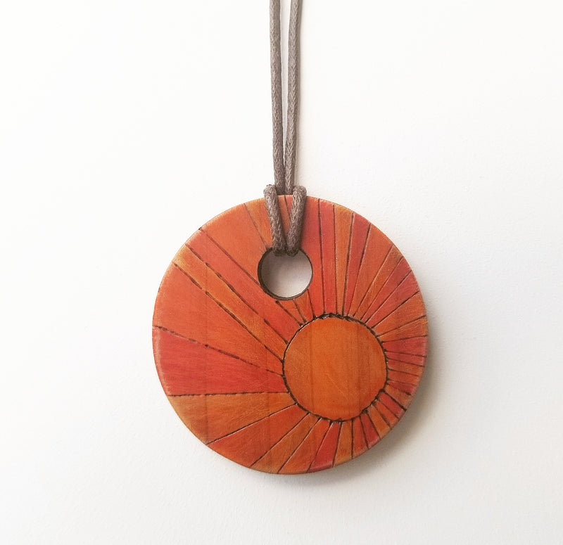 Tri-Color *Desert* Circle Cedar Pendant Necklace - Brown Cord